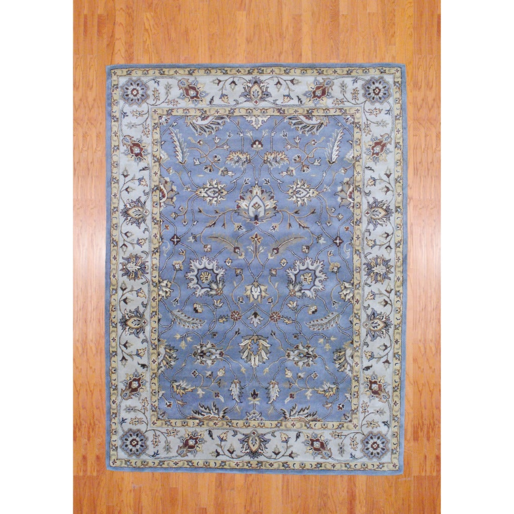 Indo Hand-tufted Gray/ Ivory Wool Rug (8' x 11')
