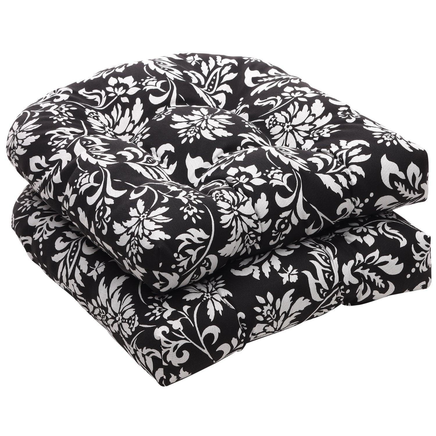 Pillow Perfect Outdoor Black/ White Floral Wicker Seat Cushions (Set of 2)