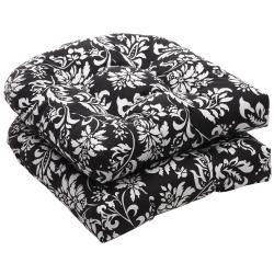 Thumbnail 1, Pillow Perfect Outdoor Black/ White Floral Wicker Seat Cushions (Set of 2).