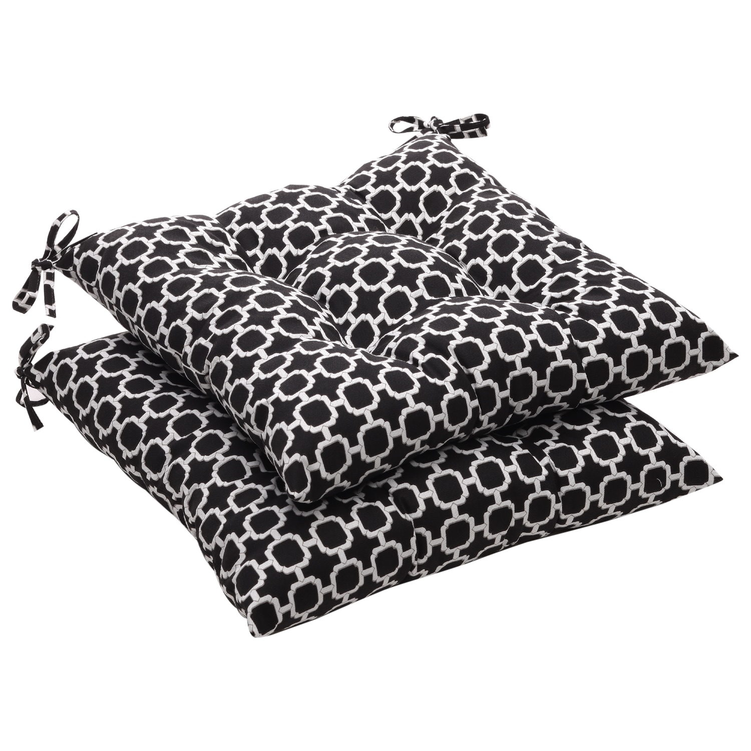 Pillow Perfect Outdoor Tufted Black White Geometric Seat Cushion Set of 2 Free Shipping