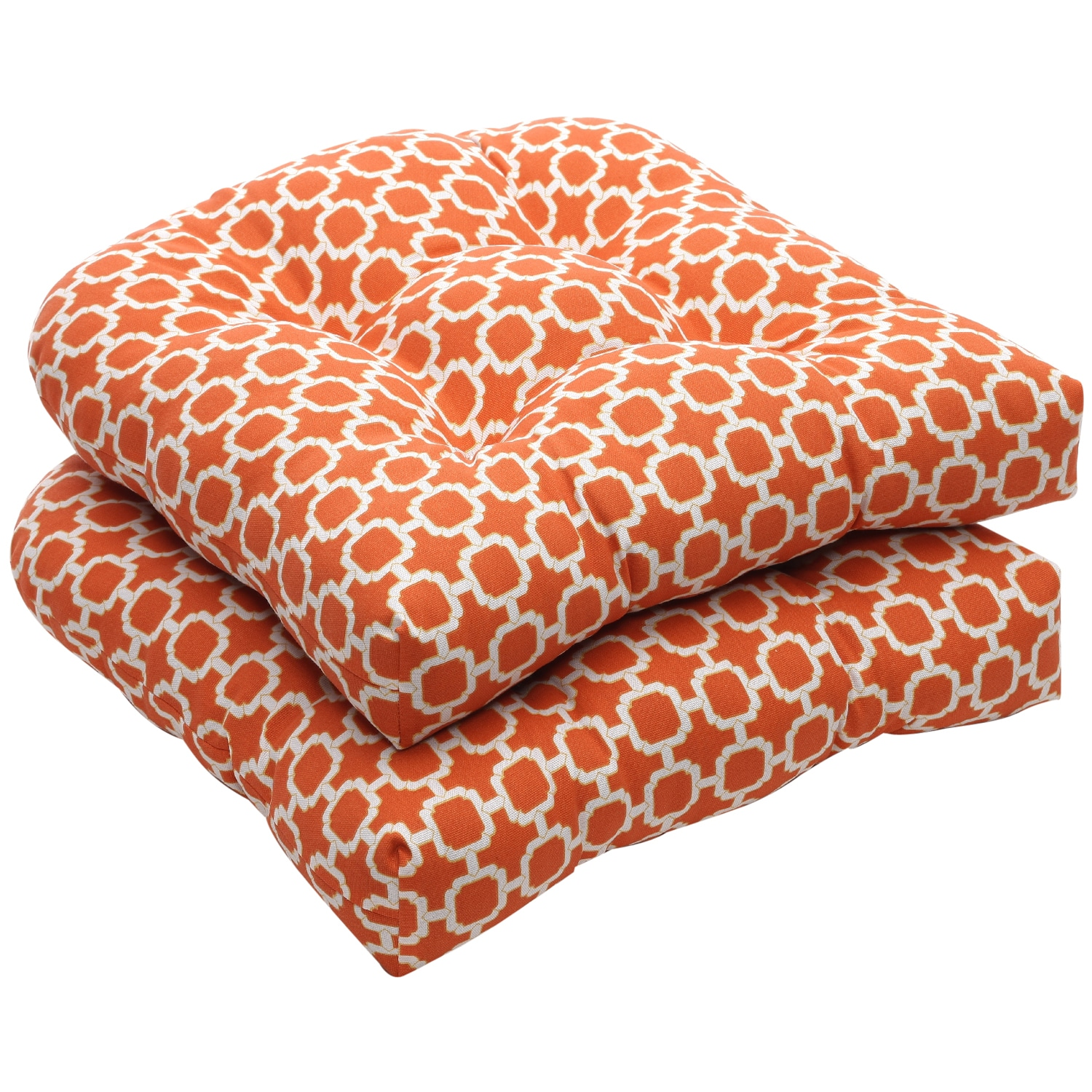 Pillow Perfect Outdoor Geometric Orange/ White Wicker Seat Cushions (Set of 2) - Thumbnail 0