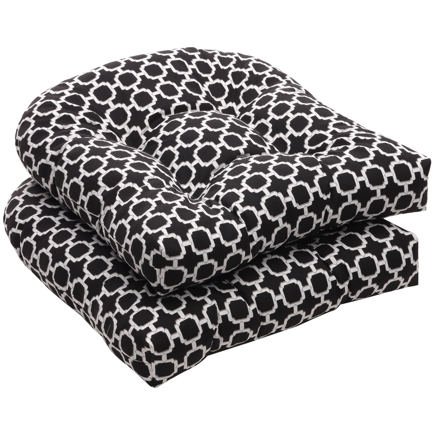 Outdoor Black And Tan Stripe Square Seat Cushions Set Of