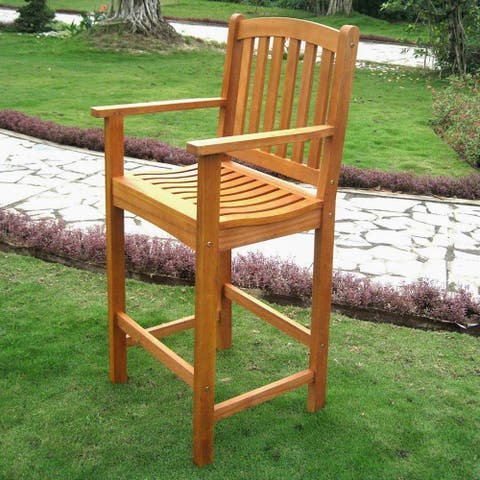 International Caravan Royal Tahiti Yellow Balau Bar-height Arm Chair (Set of 2)