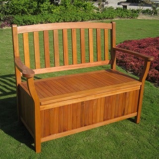 International Caravan Royal Tahiti 2-seater Storage Garden Bench with Storage Seat