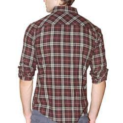 191 Unlimited Men's Brown Plaid Flannel Shirt - Thumbnail 1
