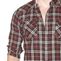 191 Unlimited Men's Brown Plaid Flannel Shirt - Thumbnail 2