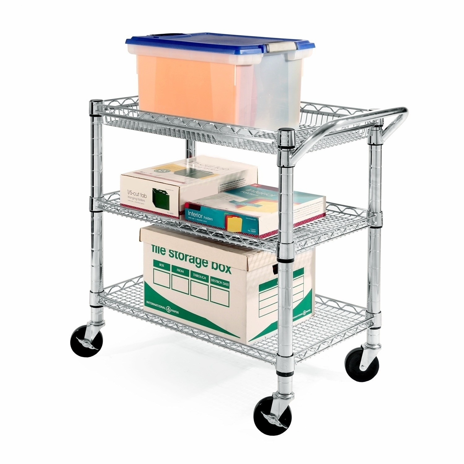 Merveilleux Heavy Duty 3 Shelf Utility Cart, Metal Commercial Kitchen Office Rolling  Storage