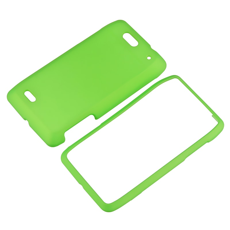 INSTEN Green Snap-on Rubber Coated Phone Case Cover for Motorola Droid 4