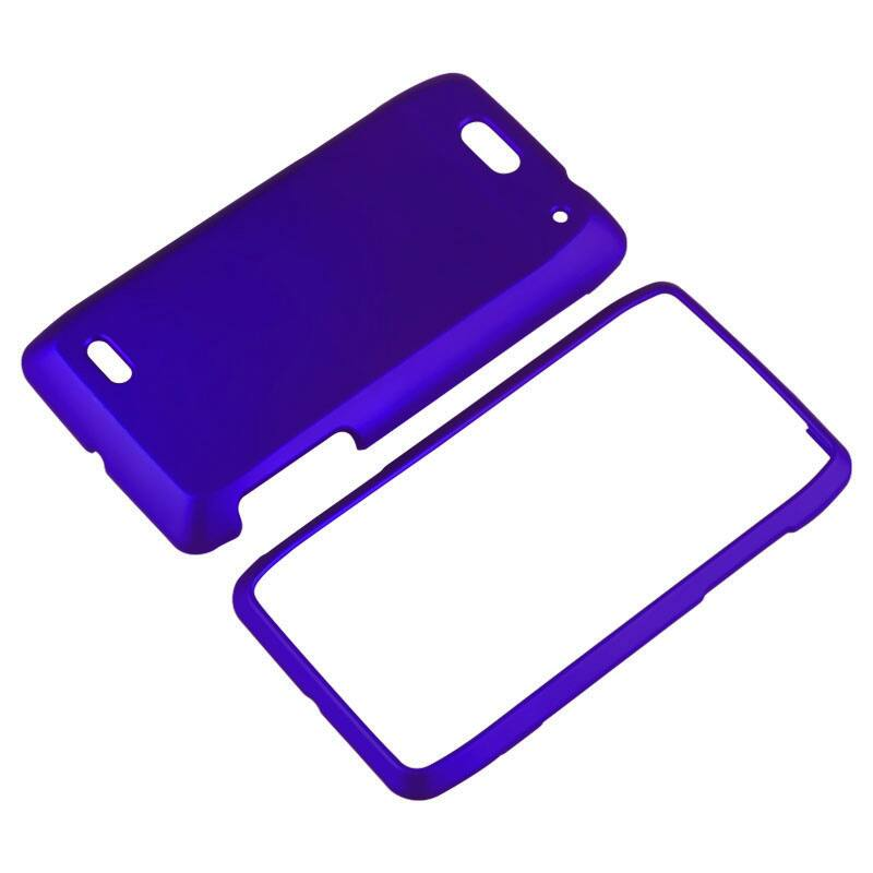 INSTEN Blue Snap-on Rubber Coated Phone Case Cover for Motorola Droid 4