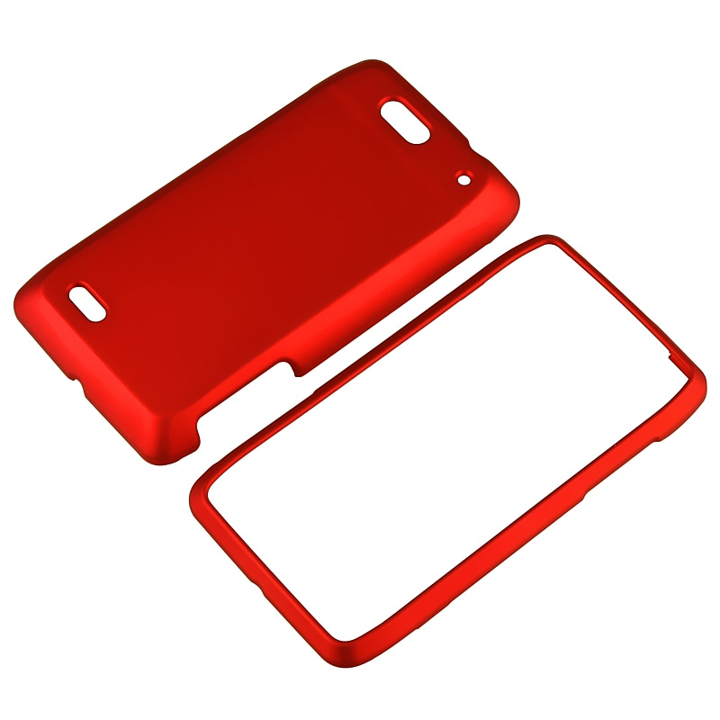 INSTEN Red Snap-on Rubber Coated Phone Case Cover for Motorola Droid 4