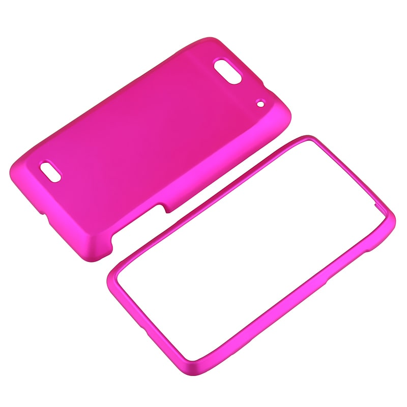 INSTEN Hot Pink Snap-on Rubber Coated Phone Case Cover for Motorola Droid 4