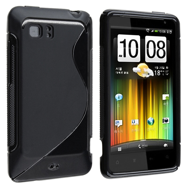 INSTEN Frost Black S Shape TPU Rubber Skin Phone Case Cover for HTC Holiday/ Vivid