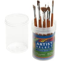 Artist Select Natural Ox Hair Short Handle Assorted Brushes (Tub of 12)