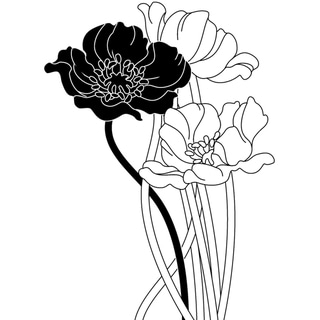 Magenta Poppies Cling Stamps