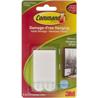 Command 3M White Medium Picture Hanging Strips (Pack of 4)