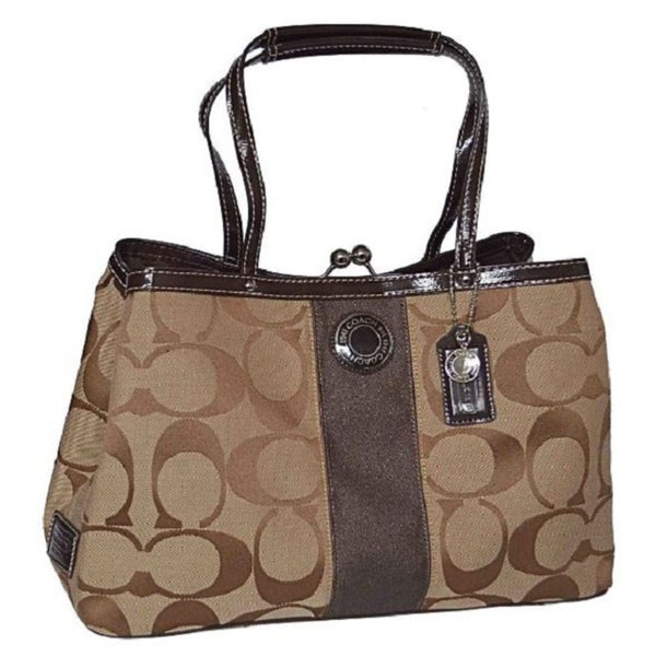 Coach Signature C '13533' Khaki Mahogany Leather Satchel Bag