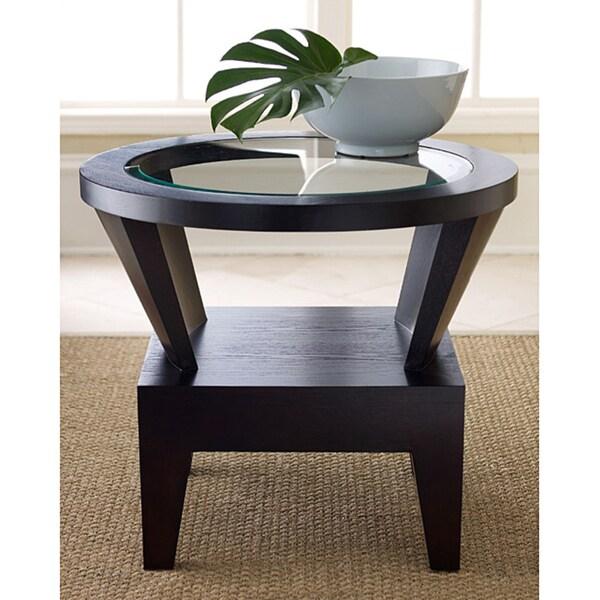 Abbyson Morgan Round Glass Espresso End Table