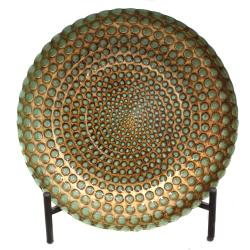 Casa Cortes Hand-painted Pearl Artisan Glass Decorative Plate with Stand