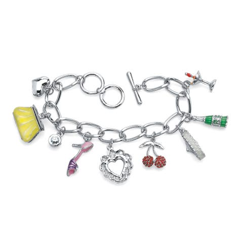 "Round Crystal Silvertone Enamel Accent Uptown Girl Charm Bracelet 8"" Bold Fashion"