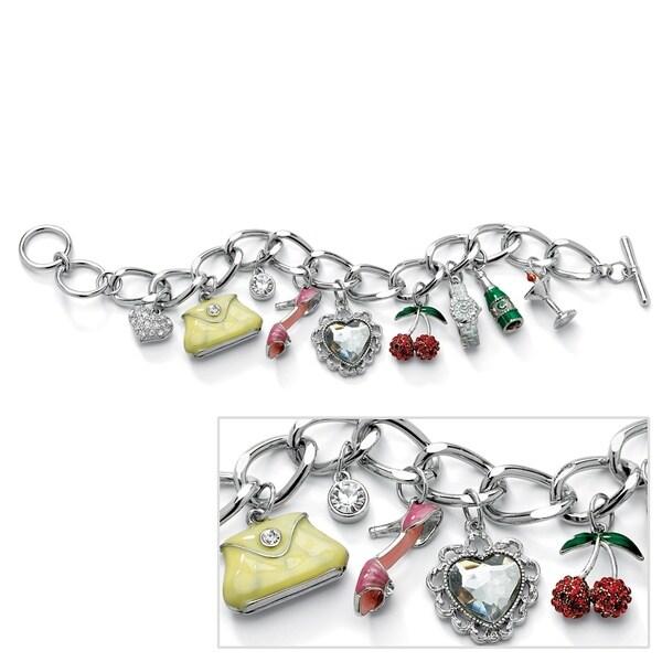 "Round Crystal Silvertone Enamel Accent Uptown Girl Charm Bracelet 8"" Bold Fashion"