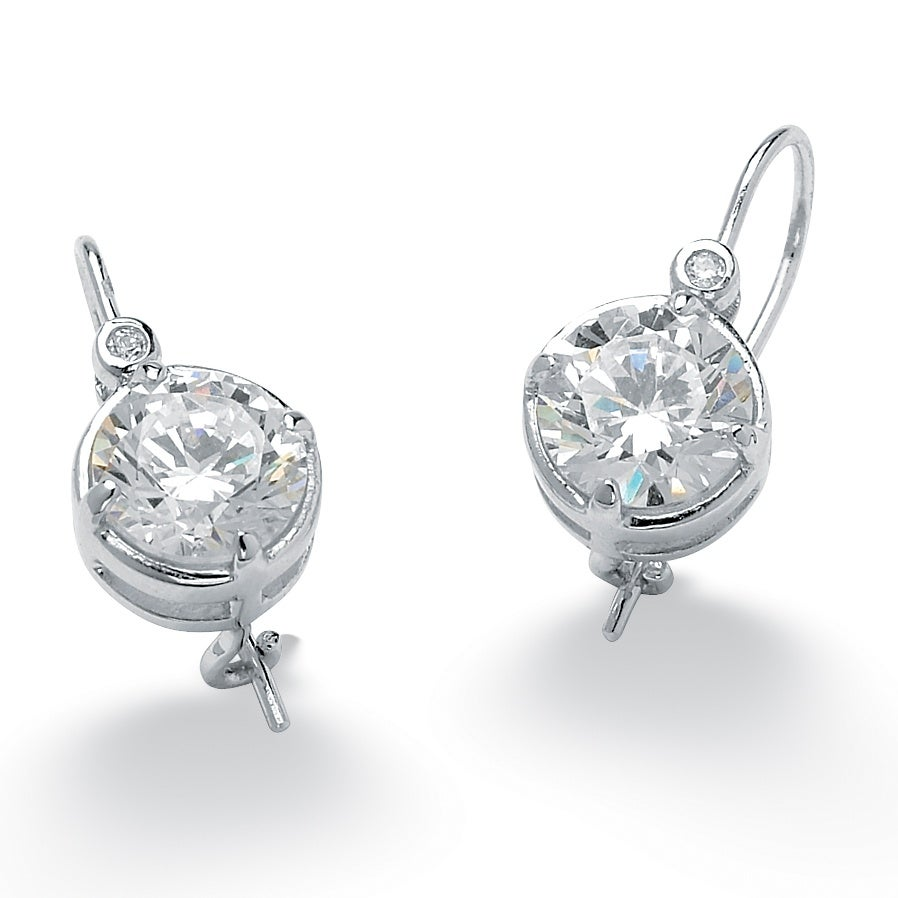PalmBeach 4.03 TCW Round Cubic Zirconia Platinum over Sterling Silver Drop Earrings Glam CZ
