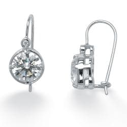 PalmBeach 4.03 TCW Round Cubic Zirconia Platinum over Sterling Silver Drop Earrings Glam CZ - Thumbnail 1