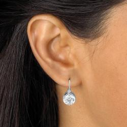 PalmBeach 4.03 TCW Round Cubic Zirconia Platinum over Sterling Silver Drop Earrings Glam CZ - Thumbnail 2