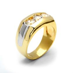 Men's 1.50 TCW Round Channel-Set Cubic Zirconia Triple-Stone Two-Tone Ring 14k Yellow Gold