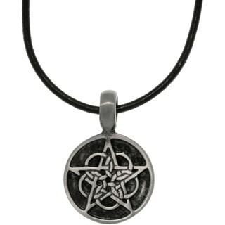 Pewter Unisex Black Enamel Celtic Star Necklace
