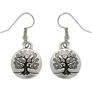 Antiqued Silver-plated Pewter Celtic 'Tree Of Life' Dangle Earrings