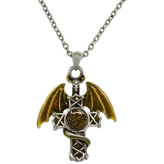 Carolina Glamour Collection Pewter Men's Warrior Dragon Celtic Cross Necklace