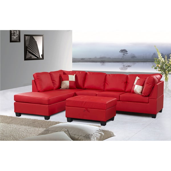 Jingo Faux Leather Orange Red 3 Piece Sectional Sofa Set