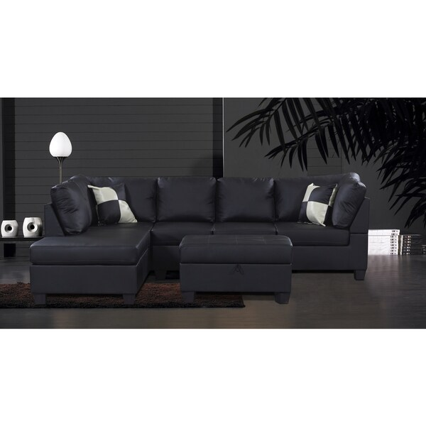 Jingo Faux Black Leather 3-piece Sectional