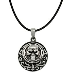 Carolina Glamour Collection Pewter Unisex Skull Medallion Necklace