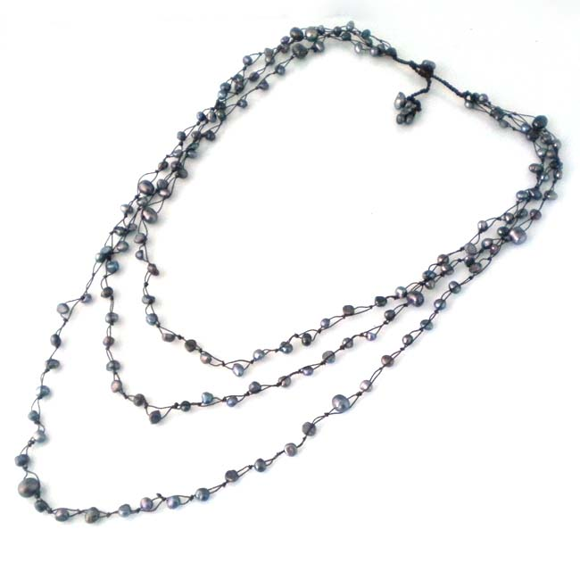 Pearl Orient Freshwater Black Pearl Triple Strand Necklace (Thailand)