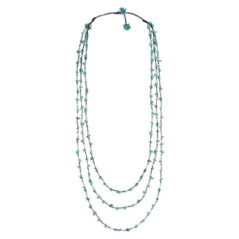 Handmade Blue Reconstructed Turquoise Triple Strand Long Necklace (Thailand)