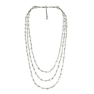 Handmade Pearl Orient FreshWater White Pearls Triple Strand Necklace (Thailand)