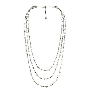 Handmade Orient FreshWater White Pearls Triple Strand Necklace (Thailand)