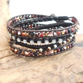 Amazonite Crystal Snake Cord Leather Wrap Bracelet (Thailand)
