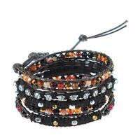 Handmade Amazonite Crystal Snake Cord Leather Wrap Bracelet (Thailand)