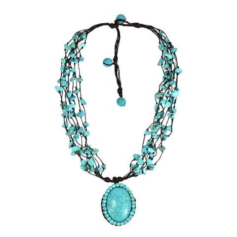 Precious Oval Reconstructed Turquoise Cotton Rope Necklace (Thailand)