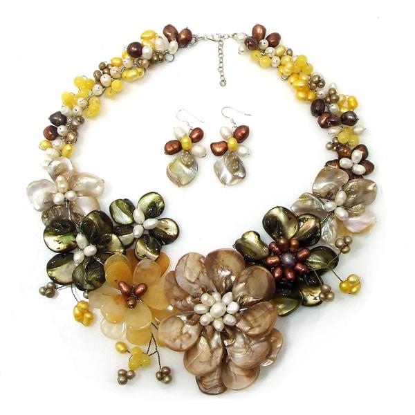 Handmade Golden Gradual Flower Bouquet Statement Jewelry Set (Thailand)