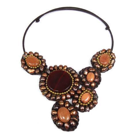 Handmade Mosaic Charm Orange Carnelian- Brass Beads Cotton Rope Choker (Thailand)