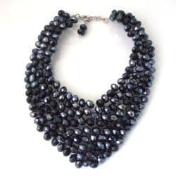 Black Blossom Crystal Garnished Bib Necklace (Thailand)