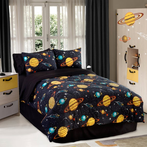 Shop Galaxy Glow In The Dark Twin Size 3 Piece Comforter
