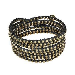 Handmade Triple Strand Golden Harmony Round Brass Wrap Bracelet (Thailand)