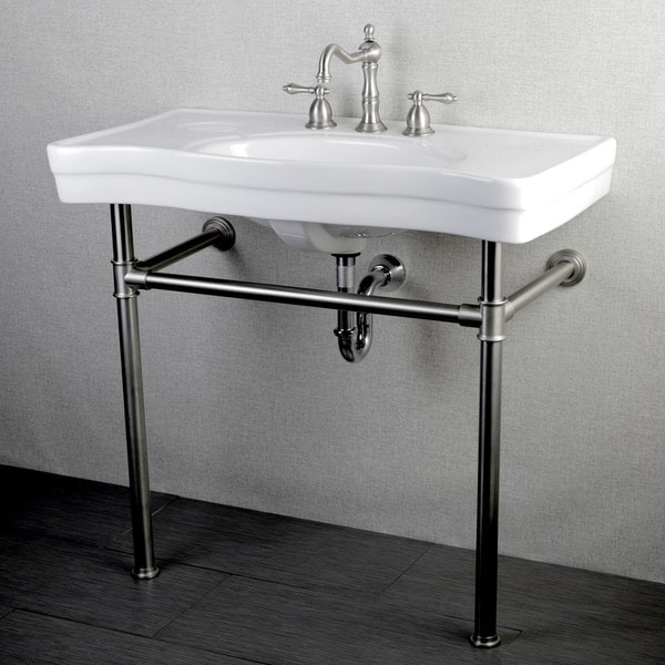 Imperial Vintage 36 Inch Satin Nickel Pedestal Center Bathroom Sink Vanity