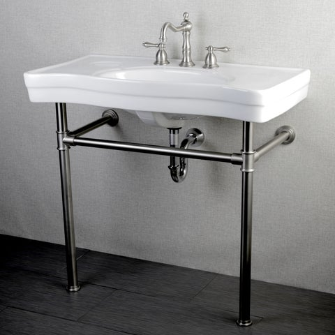 Imperial Vintage 36-inch Satin Nickel Pedestal Center Bathroom Sink Vanity
