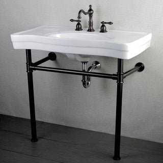 Imperial Vintage 36 Inch Oil Rubbed Bronze Pedestal Bathroom Sink Vanity