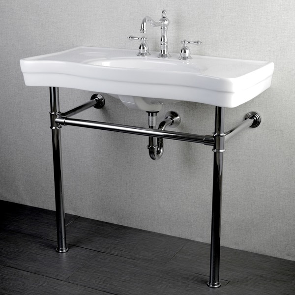 Imperial Vintage Chrome Pedestal Vitreous China Sink 36 Inch Wall Mount Bathroom Vanity